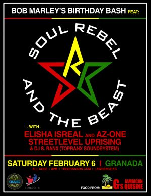 Bob Marley's Birthday Bash w/ Soul Rebel and the Beast event poster